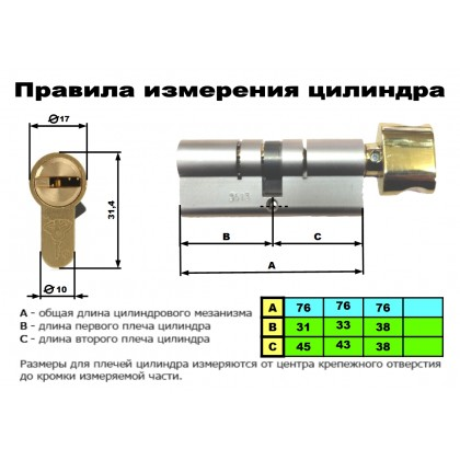ЦИЛИНДР MUL-T-LOCK 7 Х 7 ( 76 мм ) ключ-тумблер